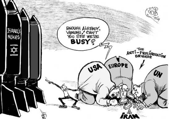 Khalil Bendib Iran-and-israel-nukes-cartoon